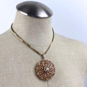 Vintage Gold Medallion Aurora Borealias Pendant